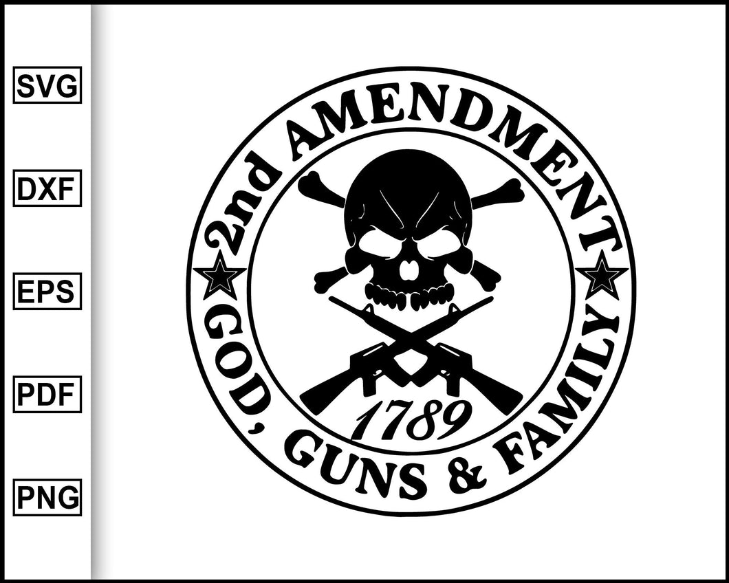 2nd Amendment God Guns and Family, America's Original Homeland Security, Gun Rights, Defend the Second Amendment, AR-15, Right to Bear Arms, cut file for cricut eps png dxf silhouette cameo