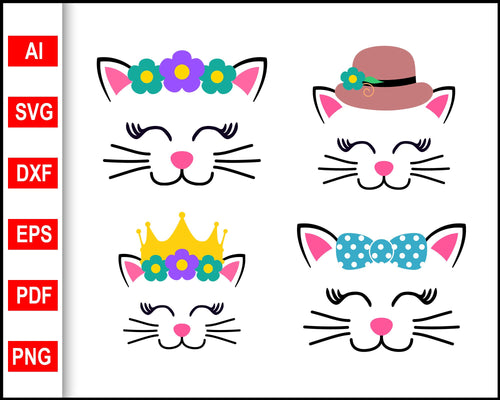 4 Set Cat Svg Vector, Cat svg files, Cute cat svg, Cat quotes svg, svg images, svg files for cricut, eps, png, dxf, silhouette cameo