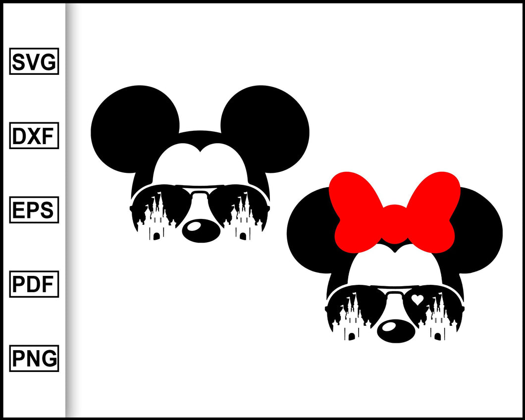 Mickey with Sunglasses SVG, Minnie Mouse Castle SVG, Disney shirt, Minnie Mouse Silhouette, Disney shirts for women, svg file for cricut eps png dxf silhouette cameo
