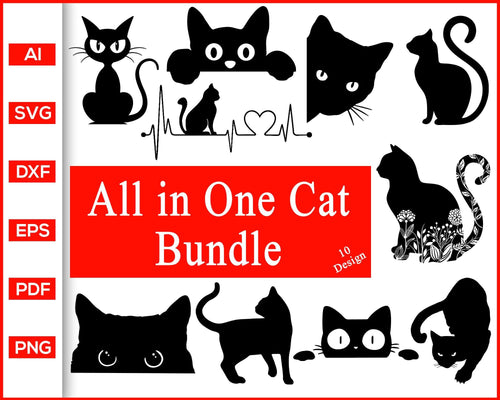 Cat svg, black cat svg, cat face svg, cat face clipart, black cat silhouette, cat clipart black and white, cat silhouette outline, Vinyl Decal Car Sticker, halloween cat svg, funny Cat Svg, svg files for cricut, eps, png, dxf, silhouette cameo