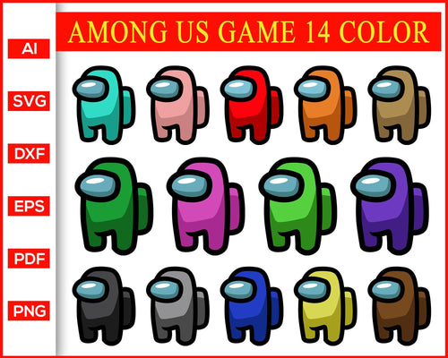 Among Us 14 Color Characters Svg, Among us svg, Gamer shirt svg, Impostor shirt svg, Sus svg, video game, Among us game, svg cut files for cricut