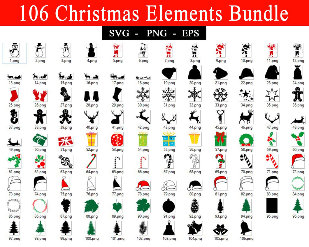 Christmas Elements Svg Bundles, Christmas Svg files, Christmas Tree Hat Ornaments Stockings Santa Claus Figure, Svg files for cricut