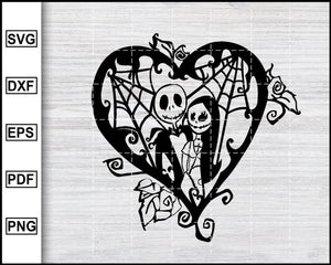 Jack and Sally svg, Jack Skellington SVG, Nightmare Before Christmas SVG, Halloween SVG, Christmas SVG, cut file for cricut eps png dxf silhouette cameo
