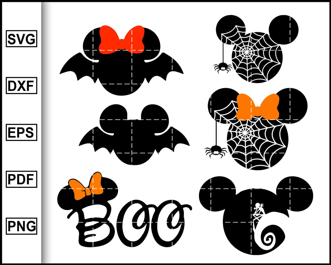 Minnie Mouse Boo svg, Minnie Mouse bats Svg, Minnie Spider Web Head Svg, Jack Skellington Svg, Disney Halloween svg, Halloween svg, Disney svg, Mickey Mouse Svg cut file for cricut eps png dxf silhouette printable files