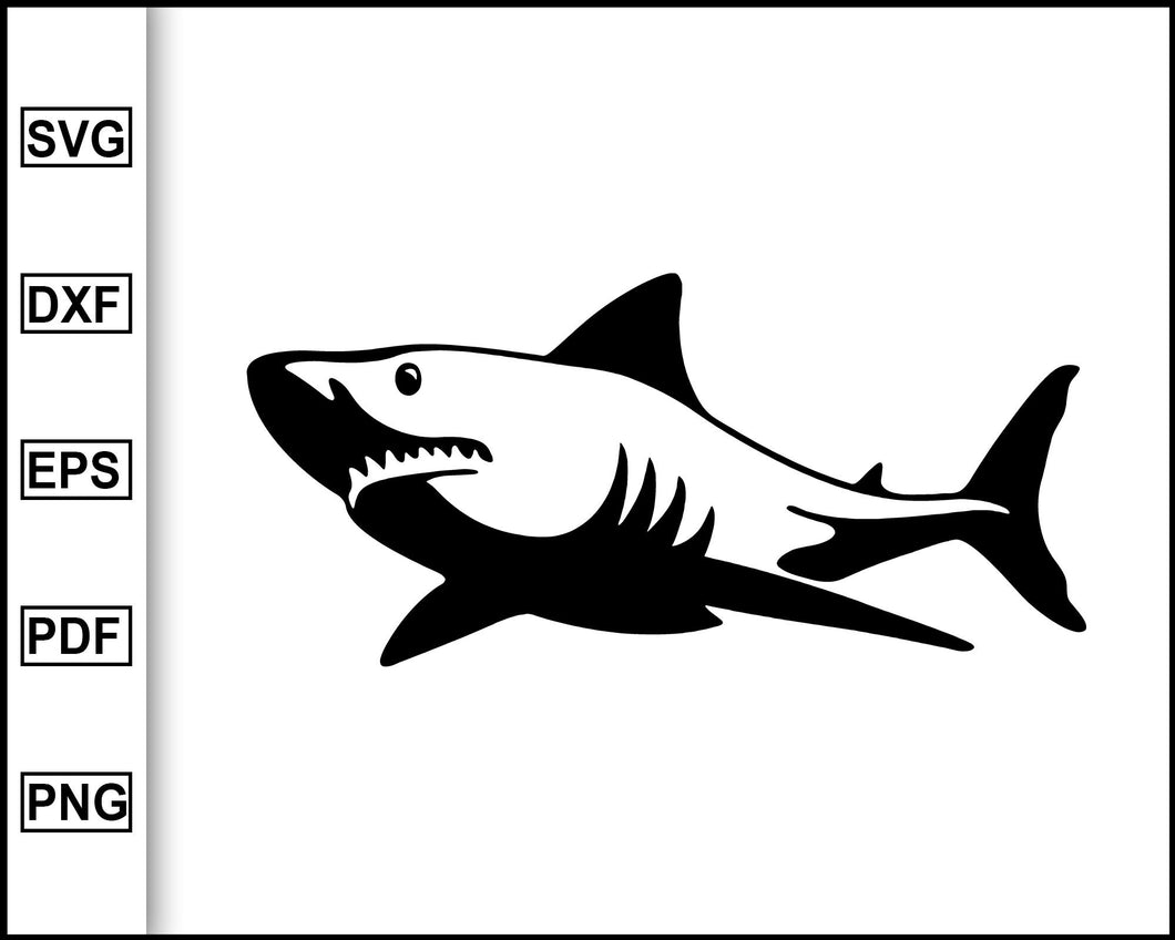 Shark SVG, Shark Clipart, Sharks Mascot Svg, Great White Shark Silhouette Vector Cut File Dxf Shark Clip Art Cricut Svg Instant Download