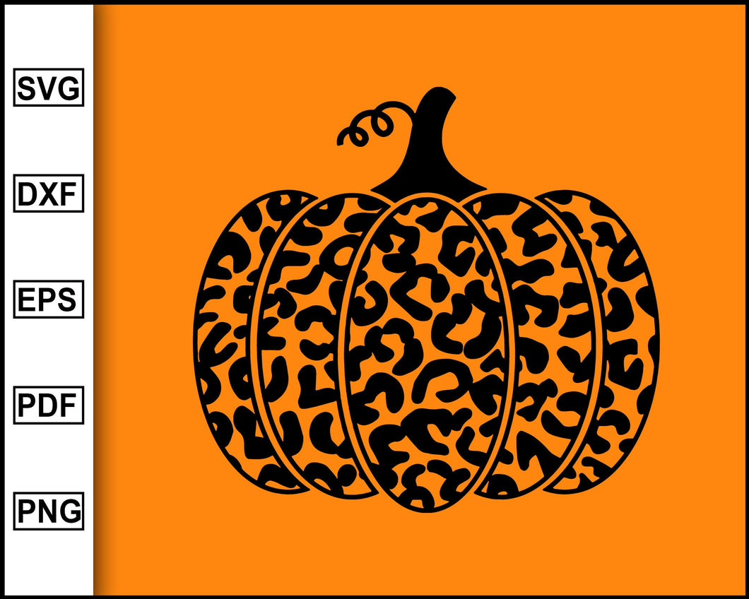 Halloween Leopard Print Pumpkin SVG, Thanksgiving Pumpkin Svg, Pumpkin Svg, Thanksgiving Svg, Halloween Svg, cut file for cricut eps png dxf silhouette printable files