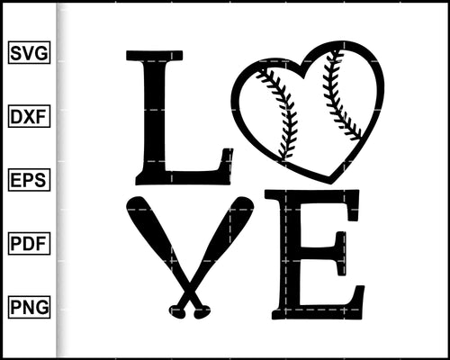 Love Baseball Svg, Baseball Heart Svg Files, Mom svg, Softball Svg, Love Baseball Clipart, Sport svg, cut file for cricut eps png dxf silhouette cameo