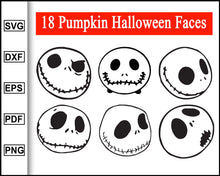 Load image into Gallery viewer, Halloween Pumpkin Face svg, Pumpkin Face Svg, jack o lantern face, Cute Halloween Faces, Funny Fall Halloween Svg, cut file for cricut