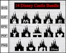 Load image into Gallery viewer, Disney Castle svg | Disney Castle Silhouette | Disney svg | Disney Clipart | Disneyland Svg | Mickey Mouse Svg | Minnie Mouse Svg | Ohana Svg cut file for cricut eps png dxf silhouette printable files