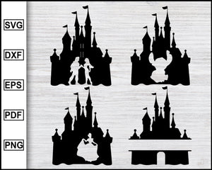 Disney Castle svg | Disney Castle Silhouette | Disney svg | Disney Clipart | Disneyland Svg | Mickey Mouse Svg | Minnie Mouse Svg | Ohana Svg cut file for cricut eps png dxf silhouette printable files