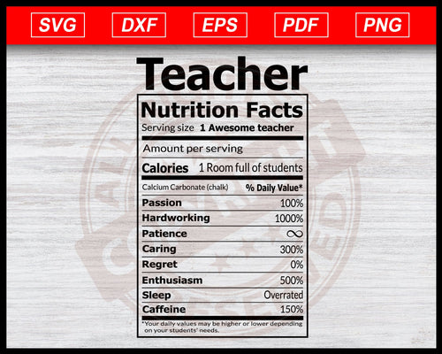 Teacher Nutrition Facts SVG, Teacher SVG, Funny Teacher SVG, Teacher Quote Svg, Instant Download Teacher Svg Cricut Cut Files Silhouette