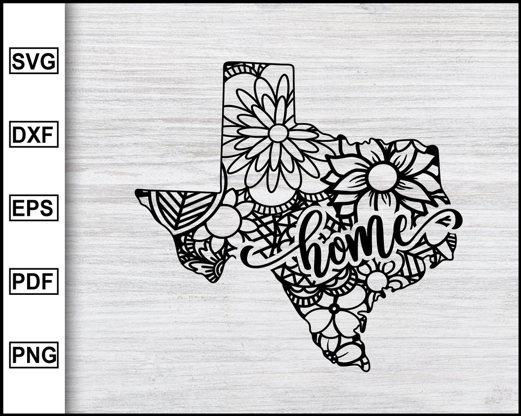 Texas State Svg, Mandala State, Home State Svg, United State Of America, Mandala Svg, State Cutting Files Clipart Vector Silhouette