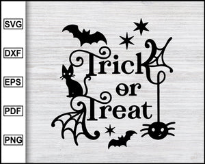 Trick or Treat svg, Halloween svg file, Fall svg file, svg cut file, Halloween stencil svg, Spider web svg, spooky svg Halloween Clipart Svg