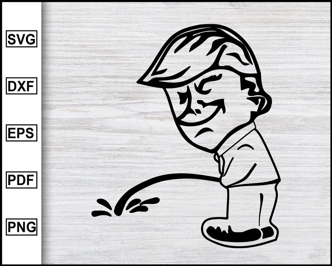 Trump Peeing svg, Funny Clipart, Trump svg, Trump 2020 svg, Trump Supporter, American Flag svg, Election 2020, svg dxf png eps pdf File For Cameo