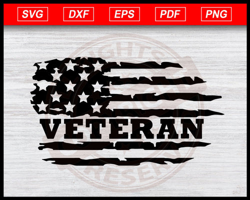 Veteran Distressed USA Flag Svg, American Flag Svg Instant Download Cricut Cut Files Silhouette