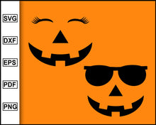 Load image into Gallery viewer, Halloween Pumpkin Face Clipart with Smiling Carved Girl / Female / Woman Carved Pumpkin or Jack o Lantern Face with Eyelashes cut file for cricut eps png dxf silhouette printable files