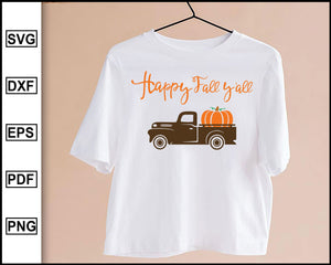 Fall truck svg, Pumpkin Truck SVG, Vintage truck, Happy fall yall svg, Thanksgiving SVG, Pumpkin fall truck svg, cut file for cricut eps png dxf silhouette cameo