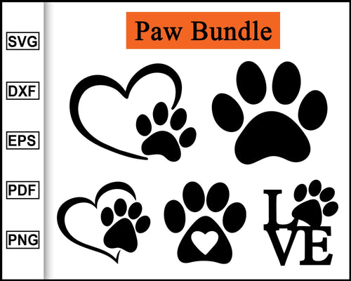 Paw Heart Svg, Paw SVG, Dog Paw, Dog Mom, Fur Mom, Cat Mom, Cat Paw Svg, Animal Lover, Pet Mom, Paw Print, Pet Svg cut file eps png dxf silhouette cameo