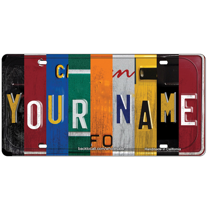 CUSTOM CAR-SIZE WOODEN LICENSE PLATE CLASSIC COLLAGE