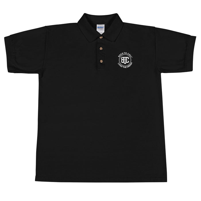 Back To Cali Livin The Dream Circle Embroidered Polo Shirt