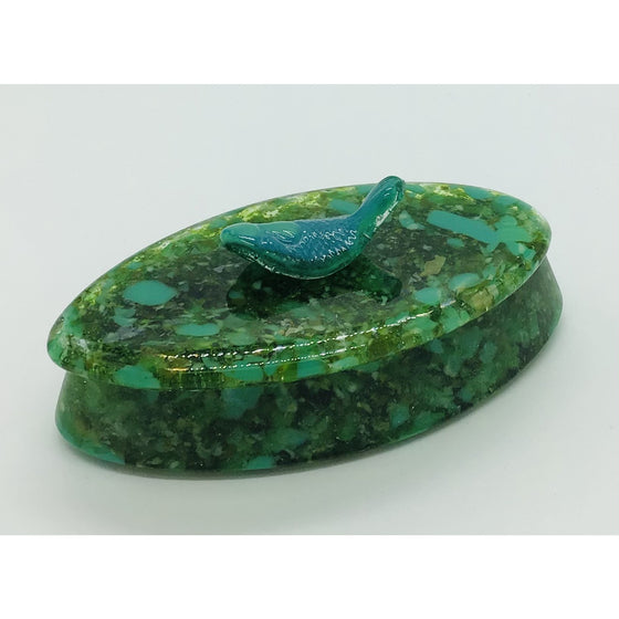 Floppin' Fish Elliptical Frit Cast Glass Box