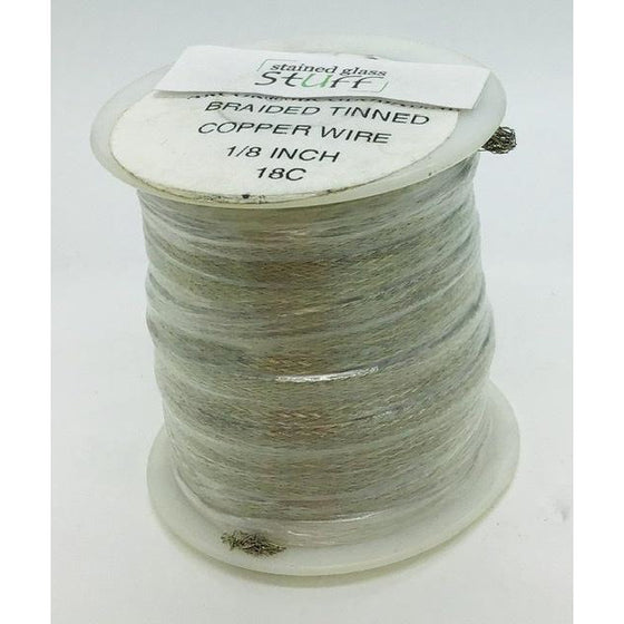 "Braided Tinned Copper Wire, 1/8"", 100 feet"