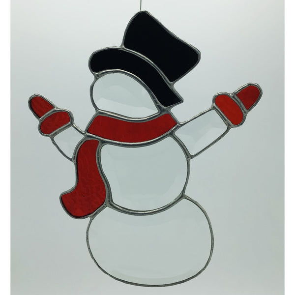 Beveled Snowman with Red Scarf