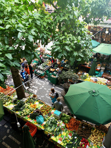 image of a farmer's market from above