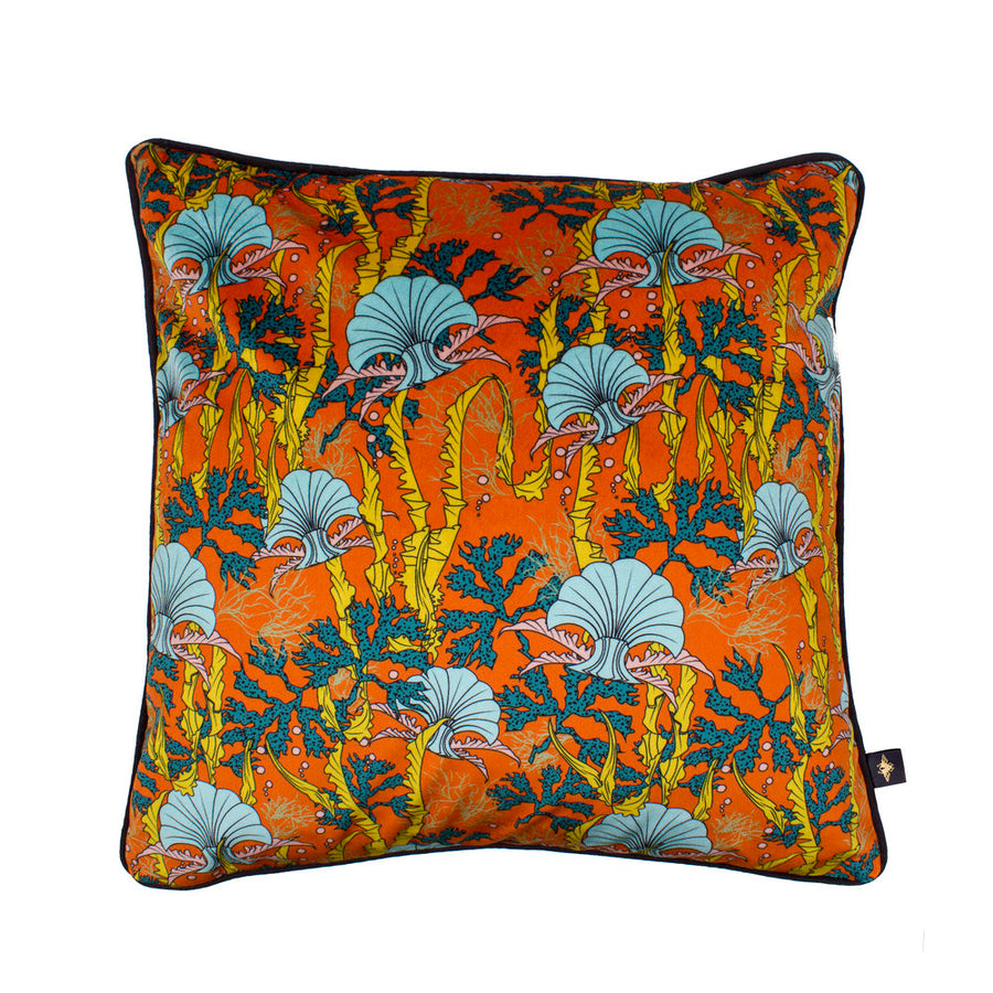 CORAL ODYSSEY ORANGE: velvet cushion