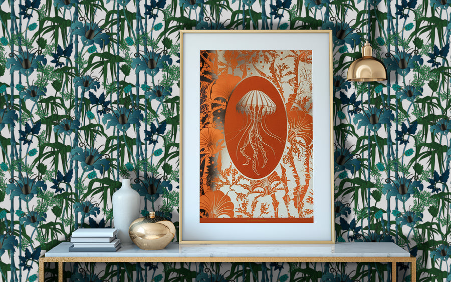 ELEMENTAL JELLYFISH print: orange/ gold