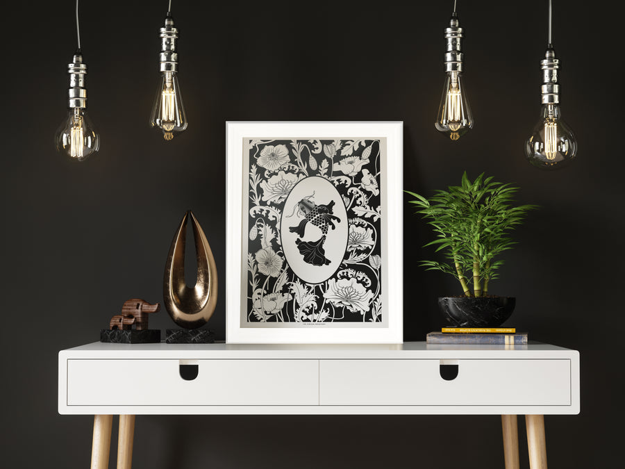 ELEMENTAL KOI print : black/ white