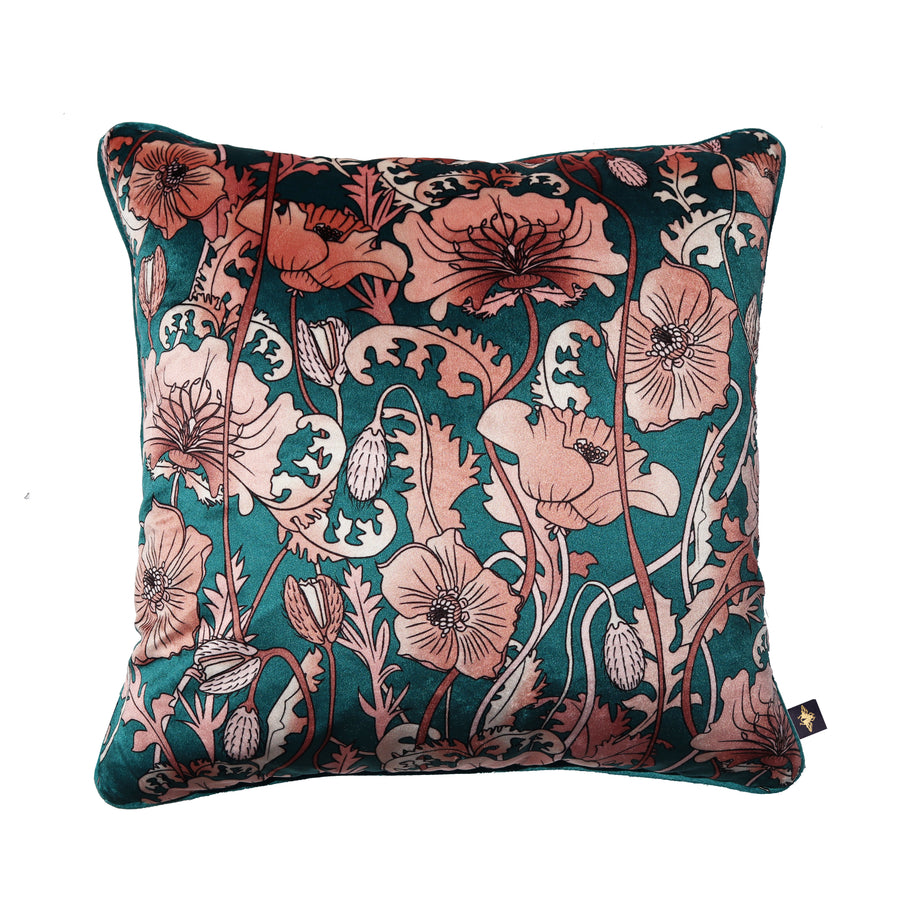 OPIUM BLUSH TEAL: velvet cushion