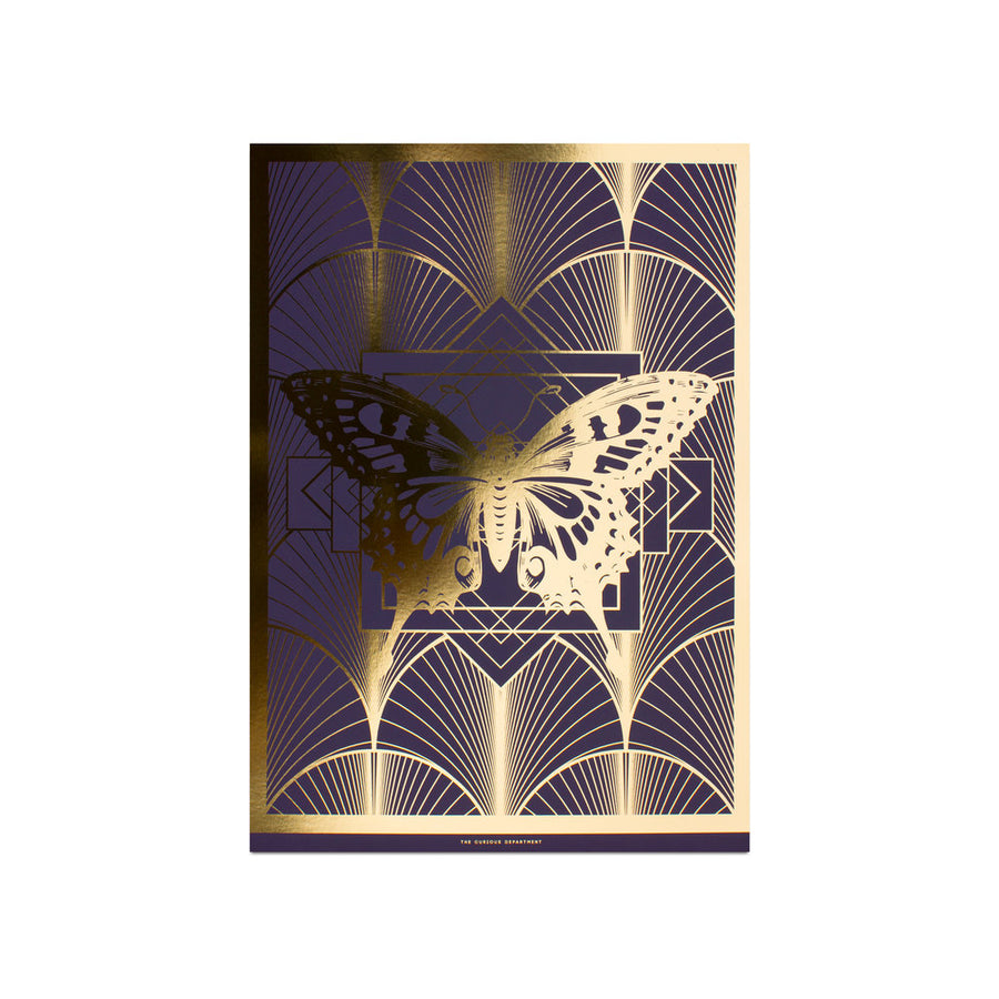 DECO BUTTERFLY print : purple/ gold
