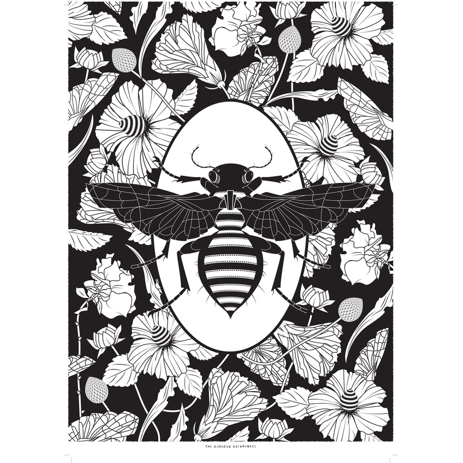 ELEMENTAL BEE print : black/ white
