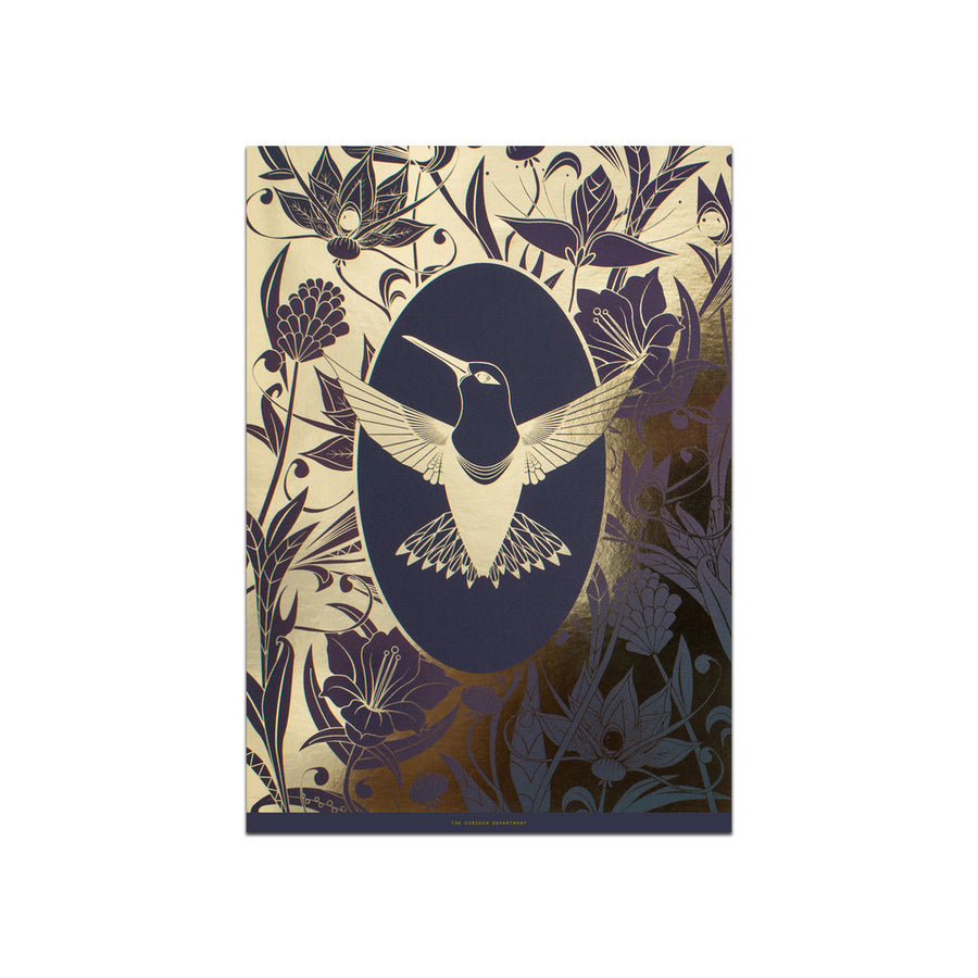 ELEMENTAL HUMMINGBIRD print : purple/ gold
