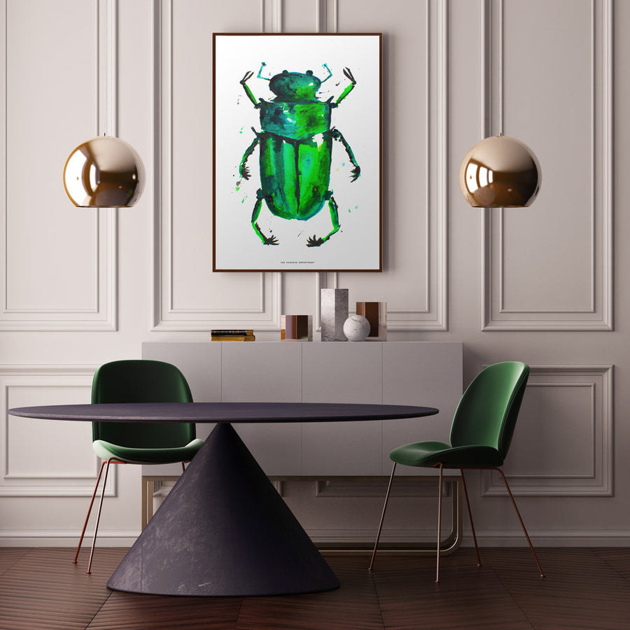 BEETLE IN THE RAIN: original watercolour painting