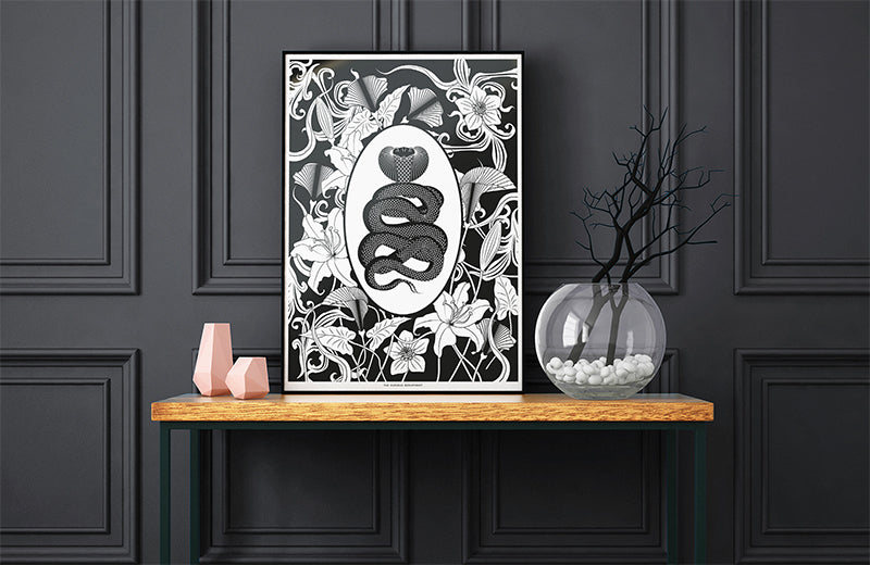 ELEMENTAL COBRA print: black/ white