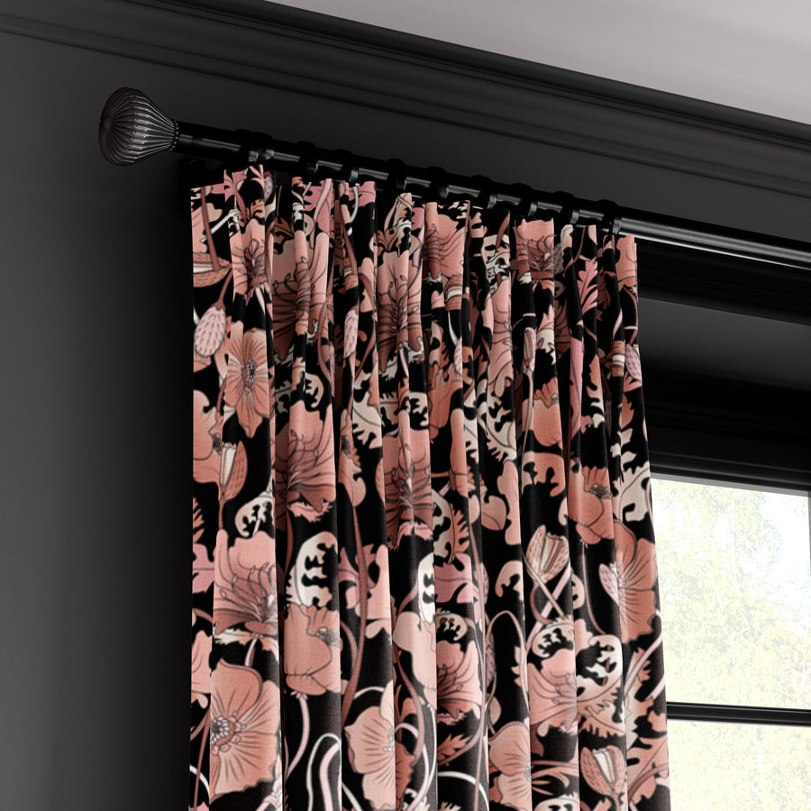 OPIUM BLUSH BLACK : Velvet Fabric (per metre)