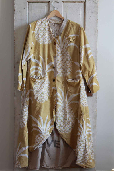 distressed  Coat in a large yellow and white Pineapple Print