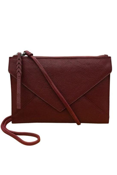 merlot colored envelope clutch crossbody with a triangle flap