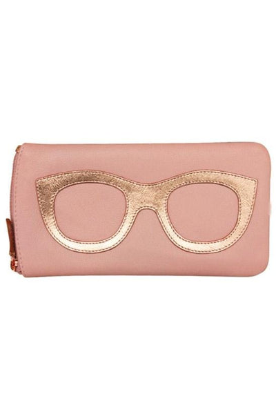 Pink and Rose Genuine Leather Eyeglass case from Ili New York with a zip top closure and a back zip compartment