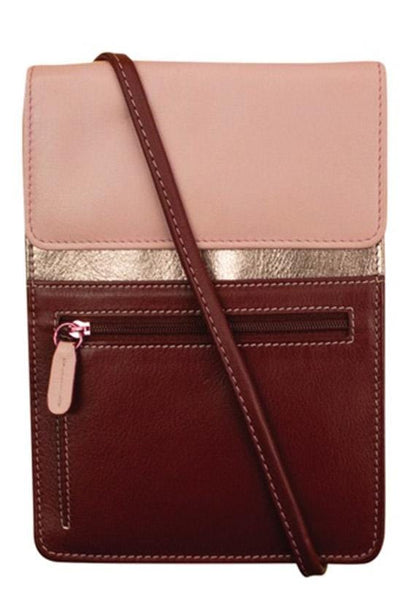 Genuine Leather Crossbody Organizer with an adjustable strap in Merlot, gold and pink