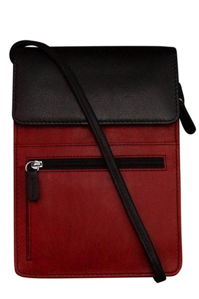 Crossbody leather bag in black and red with a mesh back for a touchscreen for your phone with many zippers slots for credits cards