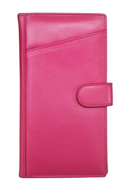 Hot pink Leather Travel Wallet with a front pocket that is perfect to hold your boarding pass.  Inside has tons of features such as an ID window, a pen loop, a zip pouch and several credit card slots