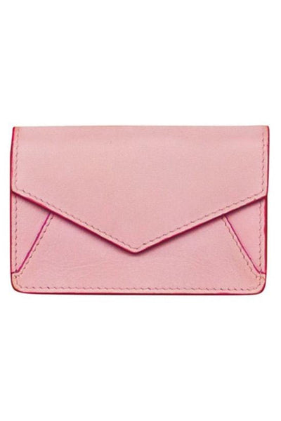 pale pink Genuine Leather envelope shaped business card holder by Ili New york with a snap button closure and back slide pocket