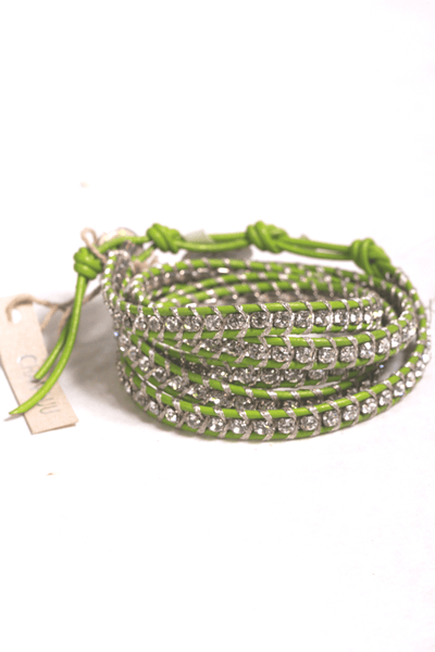 "32"" green 5 wrap bracelet with crystals"
