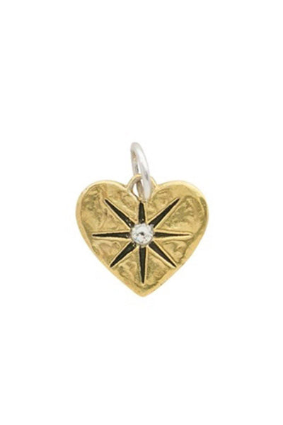 brass heart charm pendant featuring a star with a Swarovski crystal in the center