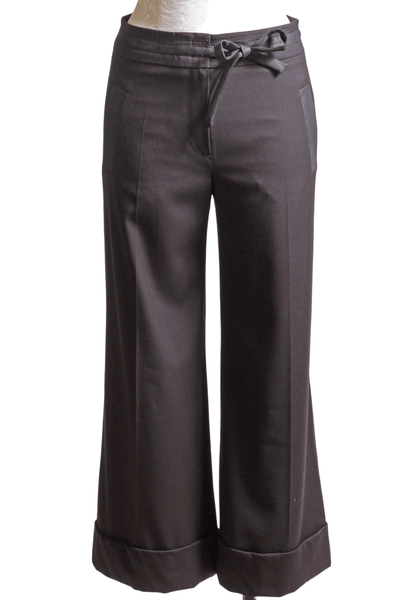 black culotte with a two snap front closure and attached tie belt