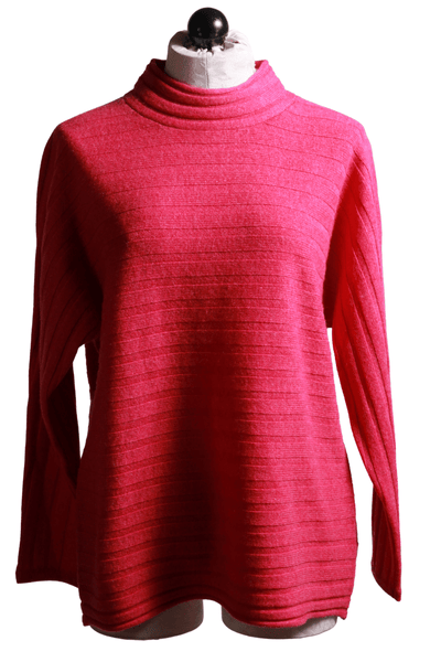 pink fuschia mock turtleneck sweater with horizontal ribbing
