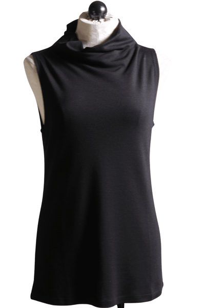 Longer black sleeveless draped mock turtleneck